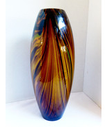"Large hand blowen art glass Brown tiger eye pulled Swirl Vase 12.75"" - $91.08"