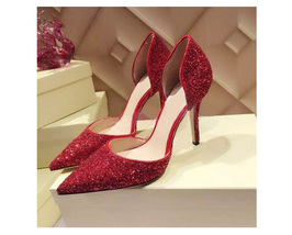 pp233 Extra size sequin pointy ankle pumps, US Size 1-9, red - $62.80