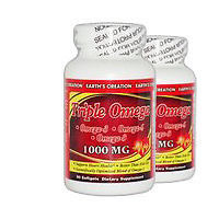 Triple Omega - Omega 3, 6, 9 1000 mg - 90 Softgels 2PK by Earth's Creation USA