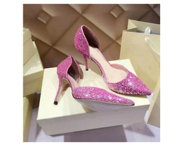 pp233 Extra size sequin pointy ankle pumps, US Size 1-9, pink - $62.80