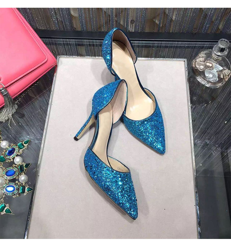 Primary image for pp233 Extra size sequin pointy ankle pumps, US Size 1-9, blue