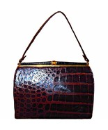 Vintage 1950s Genuine Alligator Crocodile Leather Frame Handbag with Coi... - $349.99