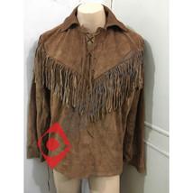 Men New Native American Brown Suede Hide Western Mountain Man Fringe Shirt MM72 - $119.00