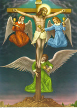 Catholic Print Picture Crucifixion w/ Angels Precious Blood - ready to frame - $14.01