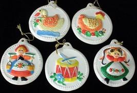 Set Of Five Vintage Porcelain Ceramic Christmas... - $11.29