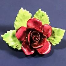 ROYAL ADDERLEY FLOWER POCELAIN FIGURINE FINE BONE CHINA ENGLAND RED ROSE... - $29.65