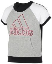 Adidas Big Girls Colorblocked Logo Top, Grey Heather, Size Large(14), 98... - $29.70