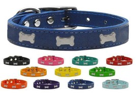 SILVER BONE Widget Genuine Leather Dog Collar * 11 Colors * Puppy Pet We... - €14,05 EUR+