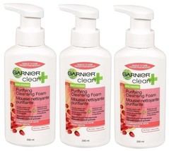 3x Garnier Clean + Purifying Foam Cleanser COMBINATION SKIN Removes Make... - $15.99