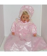 Gotz Baby Doll Signed Pink Gown Bonnet Shoes Blond Hair Soft Body Collector - $169.95