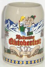 Budweiser Beer Stein 1991 Oktoberfest Anheuser Busch Vintage Mountains Snow - $49.95