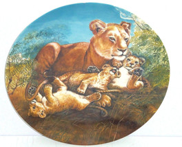 Lion Cubs Baby Collector Plate Watchful Eye Wildlife Hicks Knowles Vinta... - $59.95