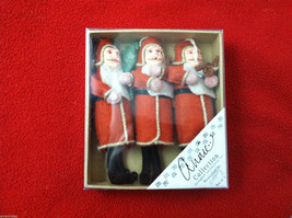 Box of 3 Felt and plaster Christmas Santa Carrying Gifts Tree Ornaments