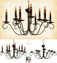 2-Tier Scrolled 9 Arm Colonial Metal Candle Chandelier Handmade Candelabra Usa - $262.61