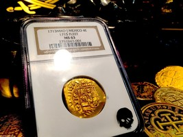 "Mexico ""Full 4 Digit Date 1713"" 4 Escudos NGC63 ""1715 Fleet Shipwreck"" Gold Cob - $9,950.00"