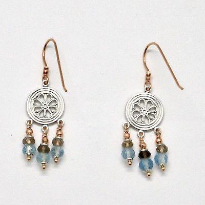 925 Silver Earrings Laminate Rose Gold with Smoky Quartz aquamarines