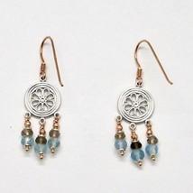 925 Silver Earrings Laminate Rose Gold with Smoky Quartz aquamarines image 1