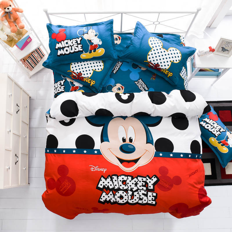 Queen Size Red White Blue Mickey Mouse Design Duvet Cover