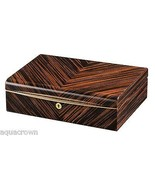 Volta Ebony Wood 10 Watch Case w/ Gold Accents Black Leather Interior 31... - $296.99