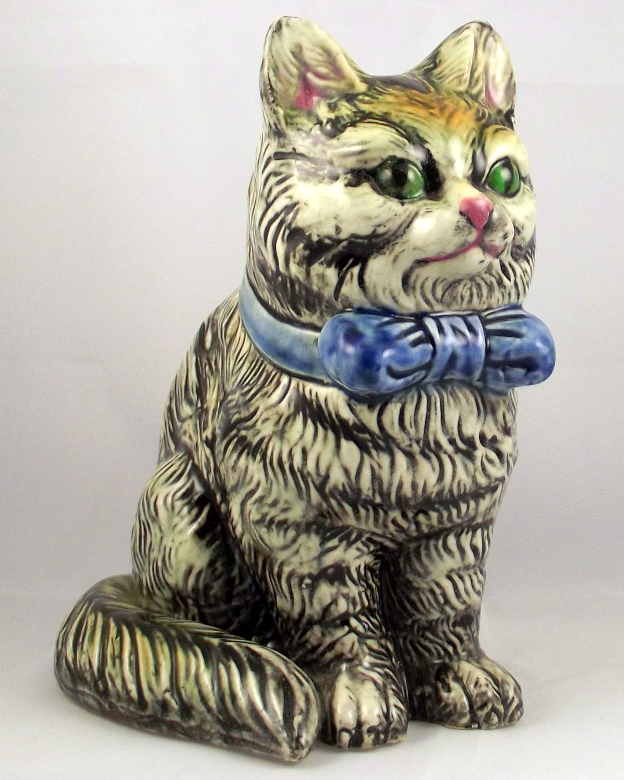 Midcentury ceramic sitting striped tabby cat planter made in Japan