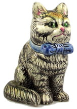 Midcentury ceramic sitting striped tabby cat pl... - $20.00