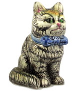 Midcentury ceramic sitting striped tabby cat pl... - $20.00