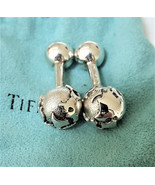 TIFFANY & CO. Sterling Silver Globe Cuff Links ~ Barbell Design ~ Pouch ... - $278.51