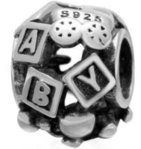 925 Sterling Silver European Charm Bead Mom Blocks Newborn Valentines Da... - $20.98
