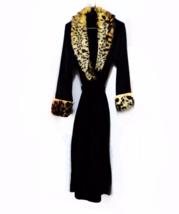 Leopard Fur robe black plush dressing robe ladies XS/S Small Adrienne La... - ₨4,862.41 INR