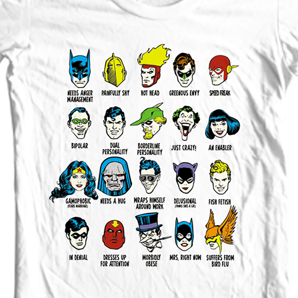 Dc comics funny personalities white t shirt