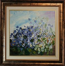 Impasto Blue White Flowers Original Oil Paintin... - $79.00