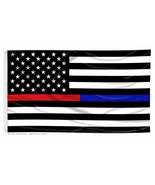 USA Thin Blue Line and Red Line Law Enforcement Police Fire EMS HEROS 3'x5' Flag - $6.99