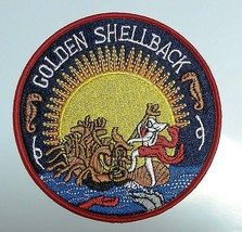Golden Shellback Crossing of the Equator Embroidered Cloth Iron On Patch  - $7.43