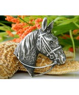 Vintage Horse Head Brooch Pin Bridle Reins Figural Silver Tone Pewter - $14.95