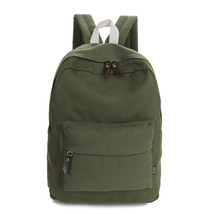 Canvas Shoulder Bags Solid Simple College Wind Backpacks Male and Female... - $27.53