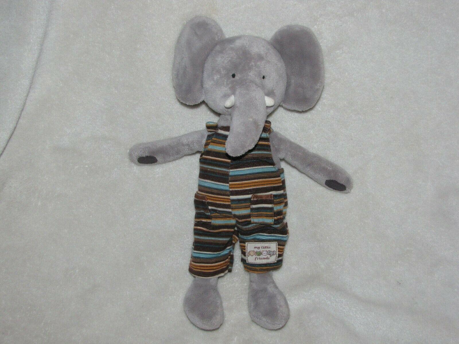 JELLY KITTEN MY LITTLE FRIENDS ELEPHANT SOFT TOY DUNGAREES JELLYCAT GRAY STRIPE - $69.29