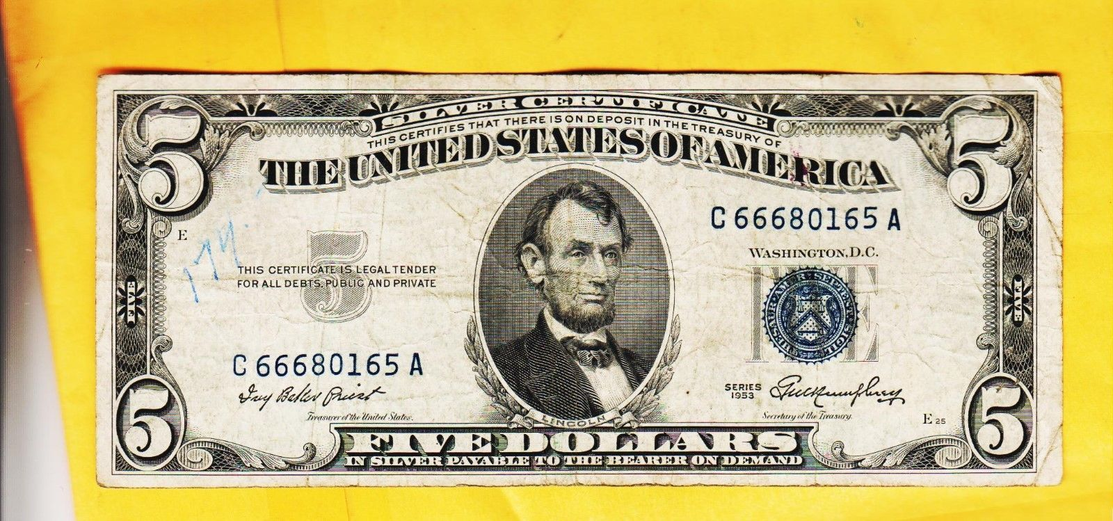 silver certificate dollar 1953 five series condition certificates sold booth