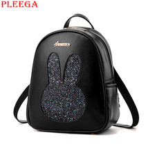 Rabbit Ears Girl Backpack Fashion Women PU Leather Black Backpack Studen... - $46.07
