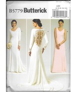 B5779 Misses'  Lace-back Dresses with Train 4-12 Butterick Sewing Pattern - $5.89
