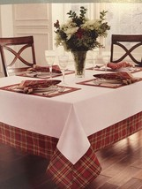 Waterford Linens White - Middleton Plaid TableCloth 70X126 Tartan Red Gr... - $79.99