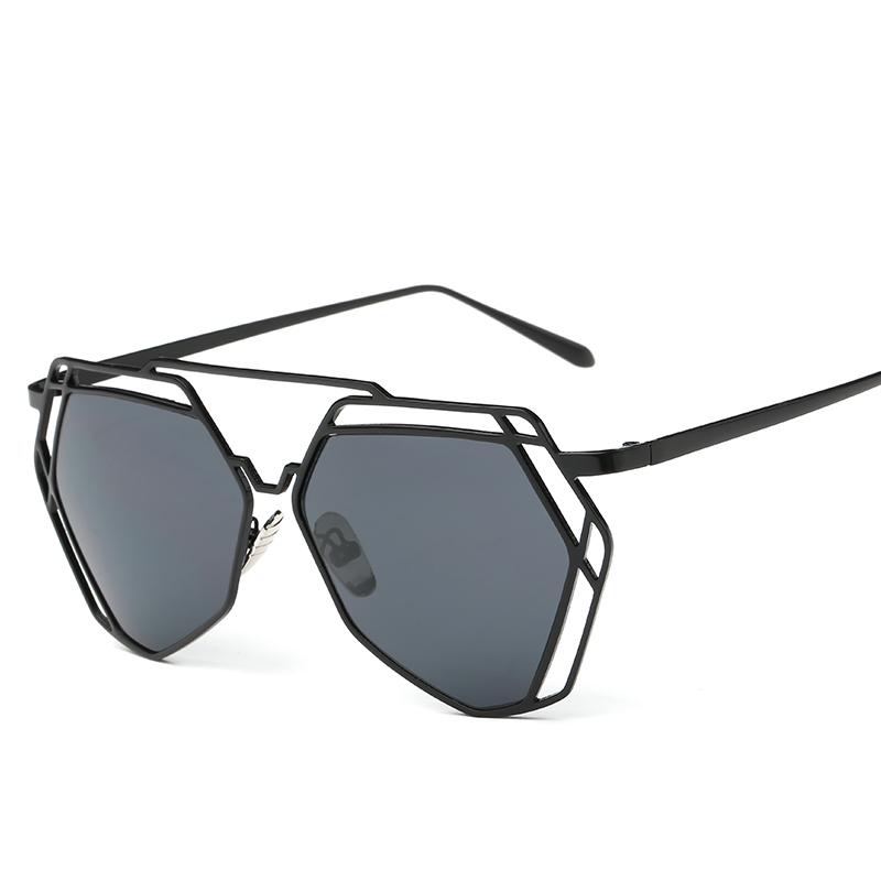 cfc6aeacdaa Fashion Oversized Sunglasses Women Hexagon Metal Frame .