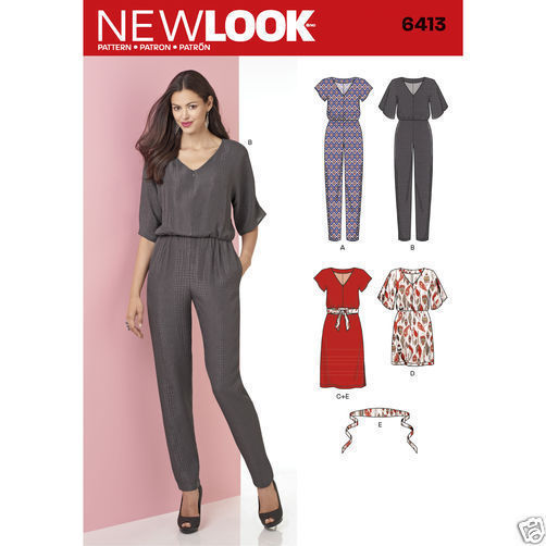 NL6413 / S0264 Misses Jumpsuit and Dress Sizes 8-20  New Look Sewing Pattern