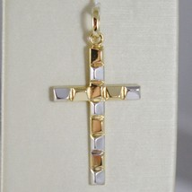 18K WHITE AND YELLOW GOLD CROSS STYLIZED VERY LUSTER MADE IN ITALY 1.34 INCHES image 1