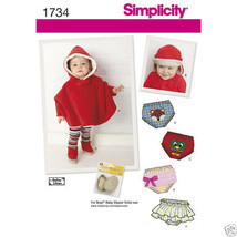 S1734 Babys Poncho Diaper Cover and Hat Sizes X... - $5.89