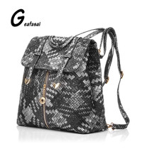 ladies students womens backpack knitted PU leather Patchwork blue gray r... - $51.10