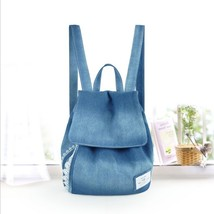 Lace Jean Backpack Female Korean Style Fresh Canvas Lace Denim Casual Ba... - $48.24