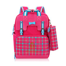 pink PU leather girls school bags for children princess bag plaid back p... - ₨3,569.04 INR
