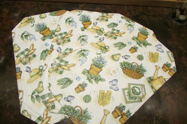 """PLACEMATS, 4 reversible 16.5 x 10.5"""" w/gardeners' theme, smaller luncheon size - $14.03"""