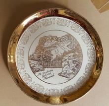Vintage Gilded Souvenir Mount Rushmore Decorative Plate - $10.00