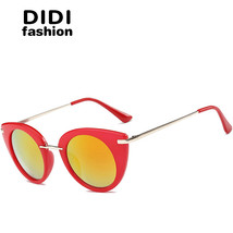 Sexy Red Cat Eye Sunglasses Women Small Circle Lens Marble Pink Frame Su... - $29.87